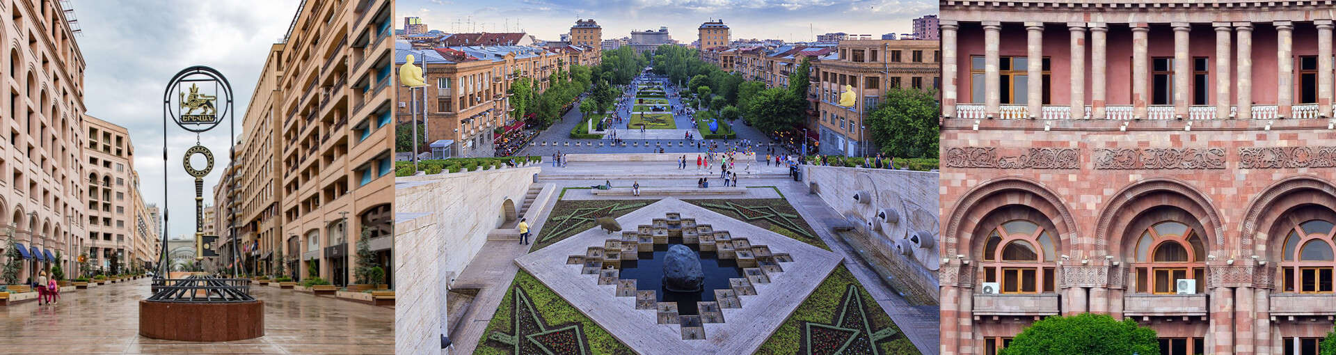 Buildings and statues of  Yerevan: the Colors of the pink city