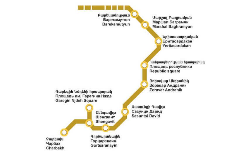 Yerevan Metro map with stations